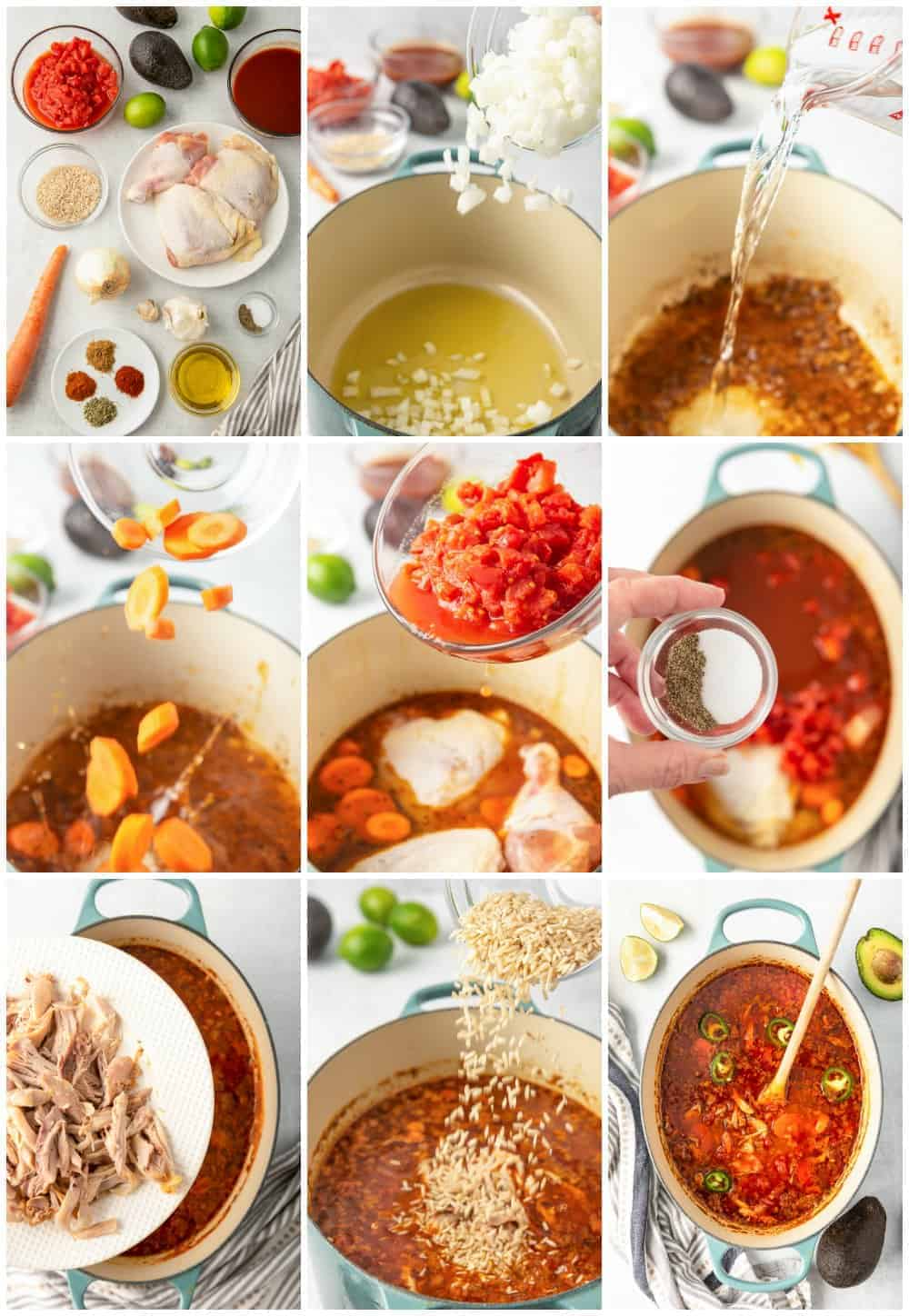 step by step photos of how to make spicy Mexican chicken soup