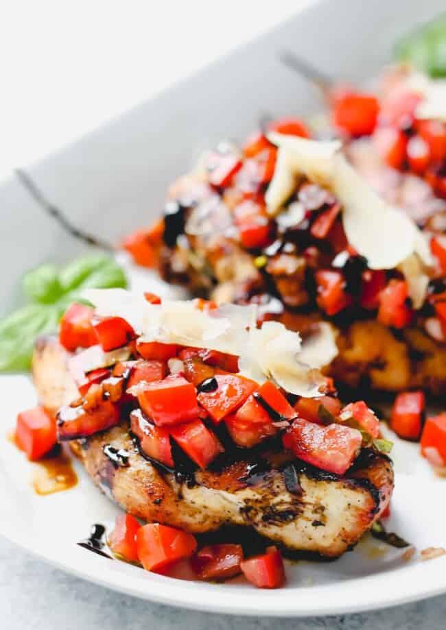 bruschetta chicken breasts on plate