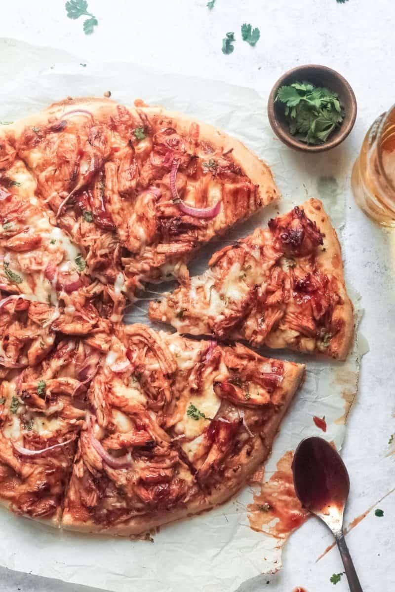 bbq chicken pizza overhead photo