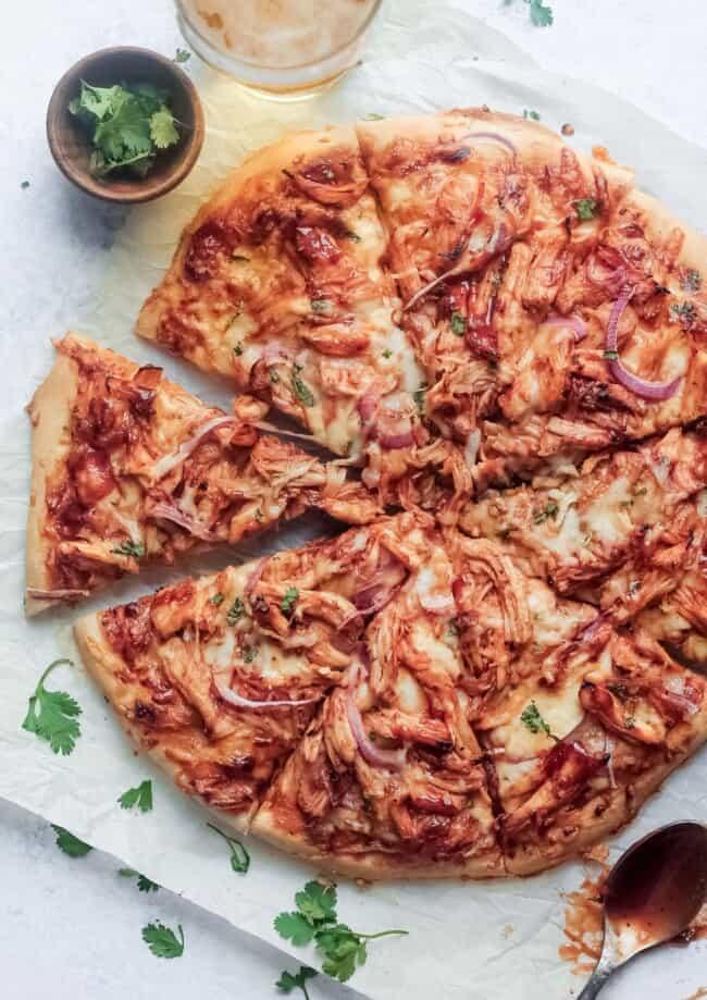 sliced bbq chicken pizza