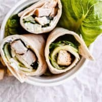 three chicken salad wraps