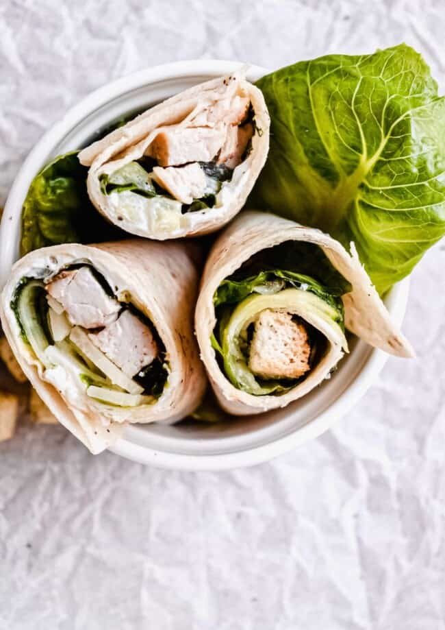 three chicken salad wraps