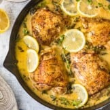 creamy lemon butter chicken in skillet