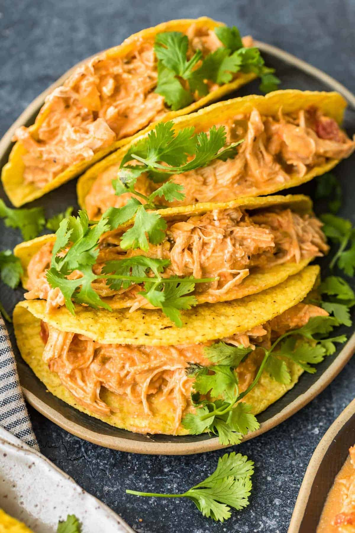 Crockpot Salsa Chicken served in tacos with fresh herbs