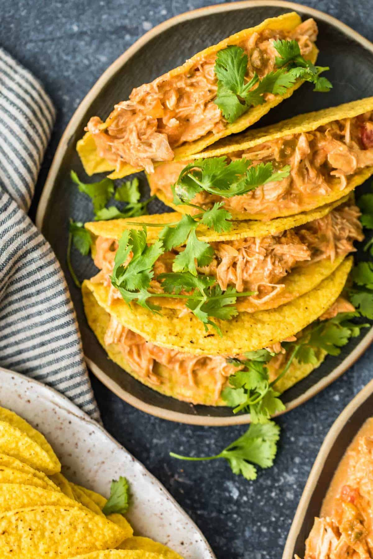 Crockpot Salsa Chicken in tacos