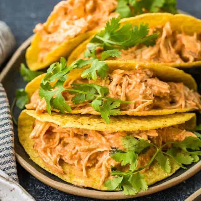 creamy crockpot salsa chicken in taco shells