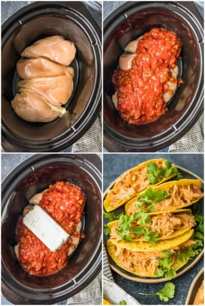 step by step photos for how to make crockpot salsa chicken