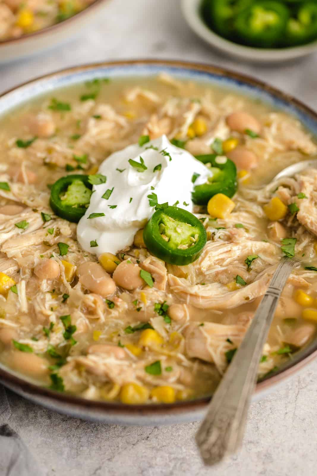 side view of white chicken chili in a bowl