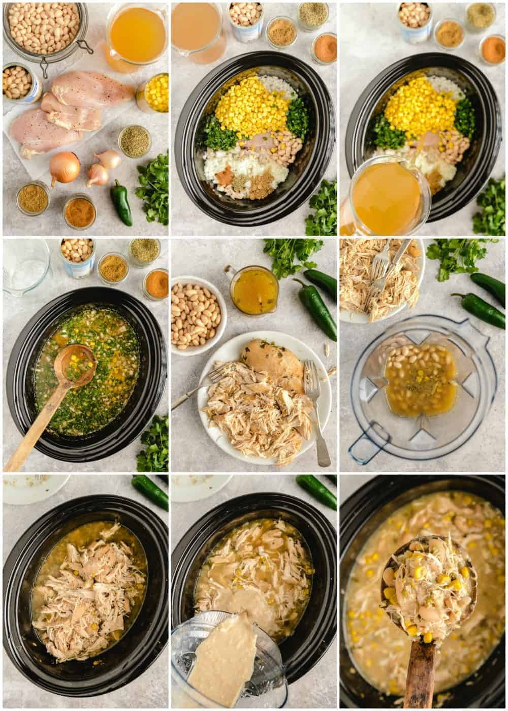 step by step photos of how to make white chicken chili process shots on gray marble