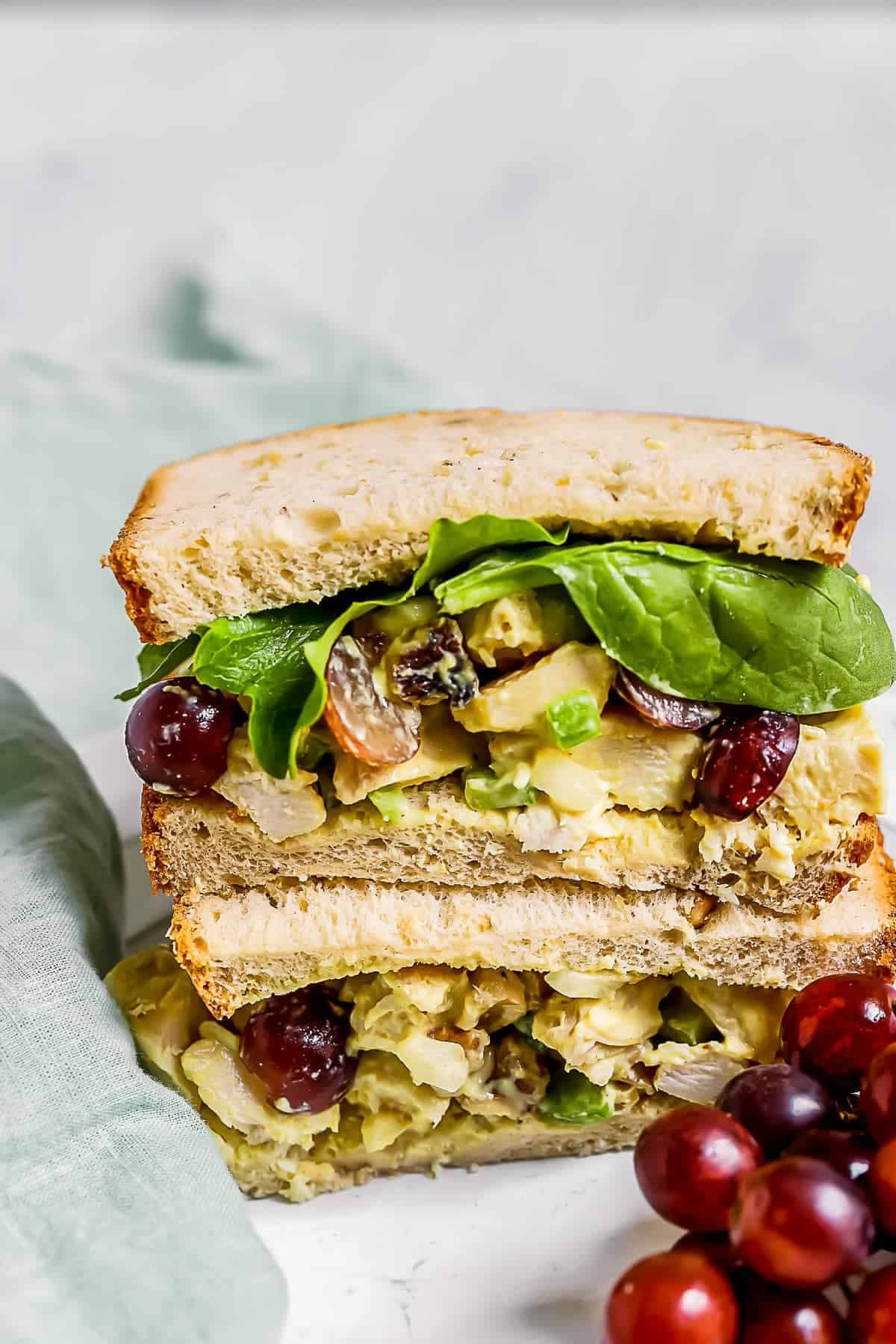 Honey mustard chicken salad in a stacked sandwich