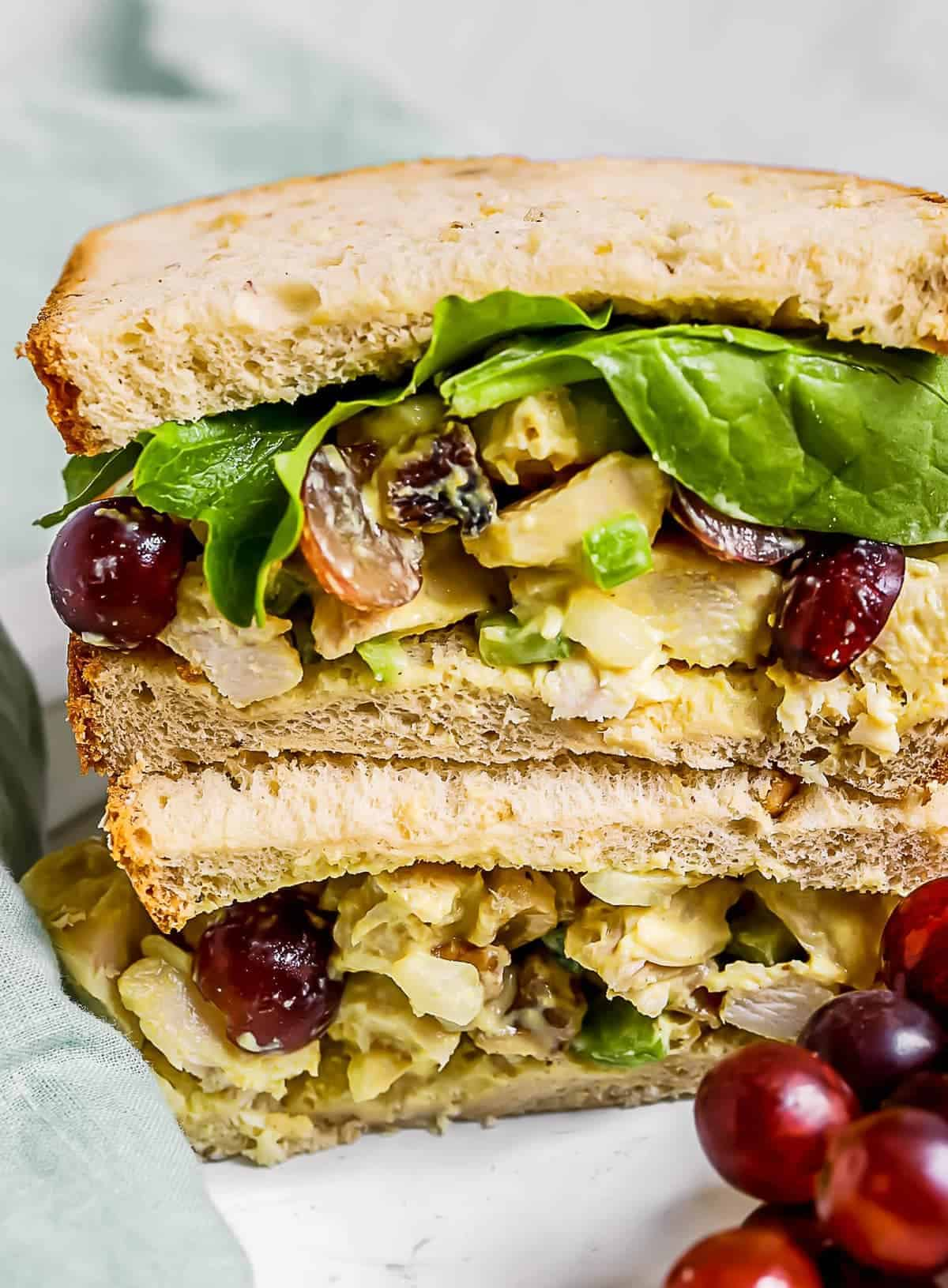 Honey Mustard Chicken Salad in a sandwich