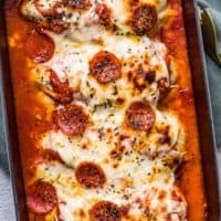 pizza chicken bake in casserole dish