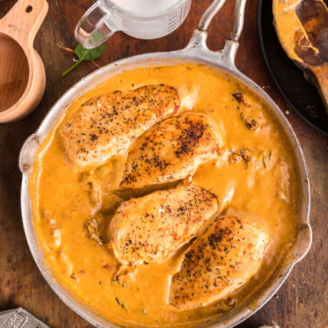 creamy sun dried tomato chicken in skillet