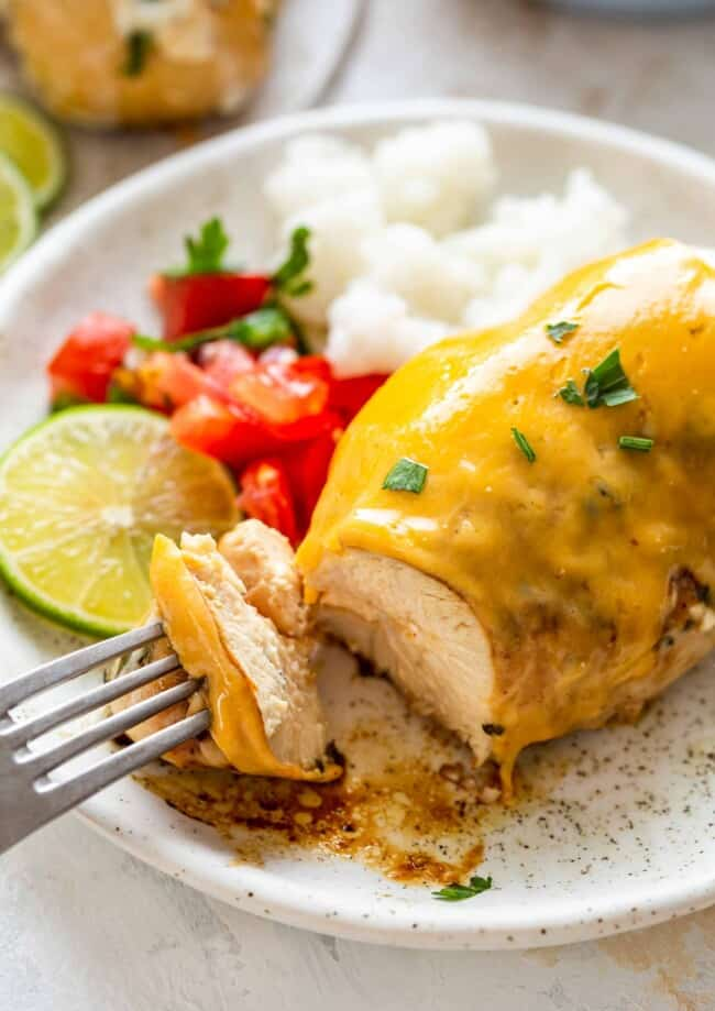 fiesta lime chicken with rice on plate