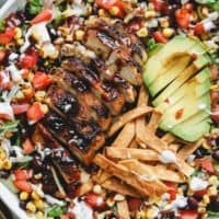 up close image of bbq chicken salad