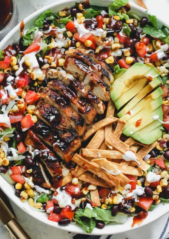 up close image of bbq chicken salad