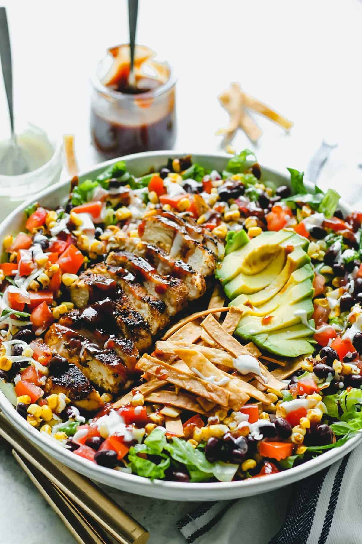 A large bowl of BBQ Chicken Salad