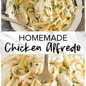 homemade chicken alfredo pinterest collage