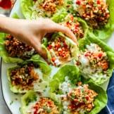 chicken lettuce wraps on platter