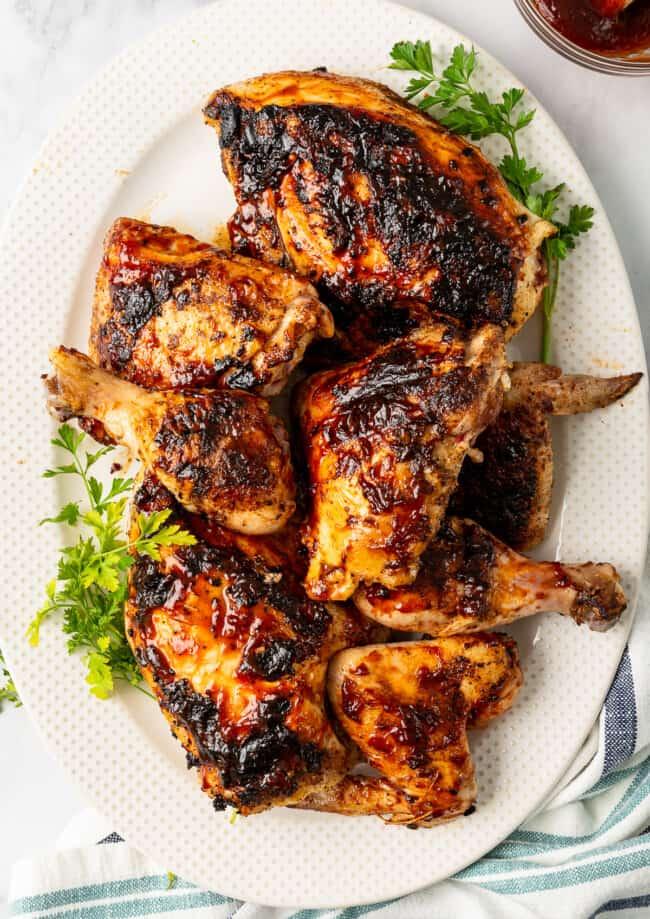 grilled bbq chicken on platter