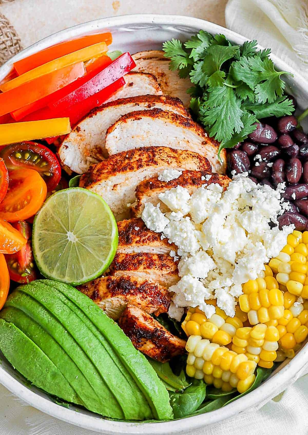 Close up of the Southwest Chicken Salad in a bowl without dressing