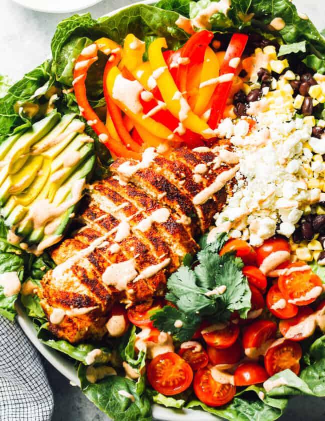 southwest chicken salad in white bowl