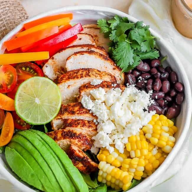 southwest chicken salad in bowl