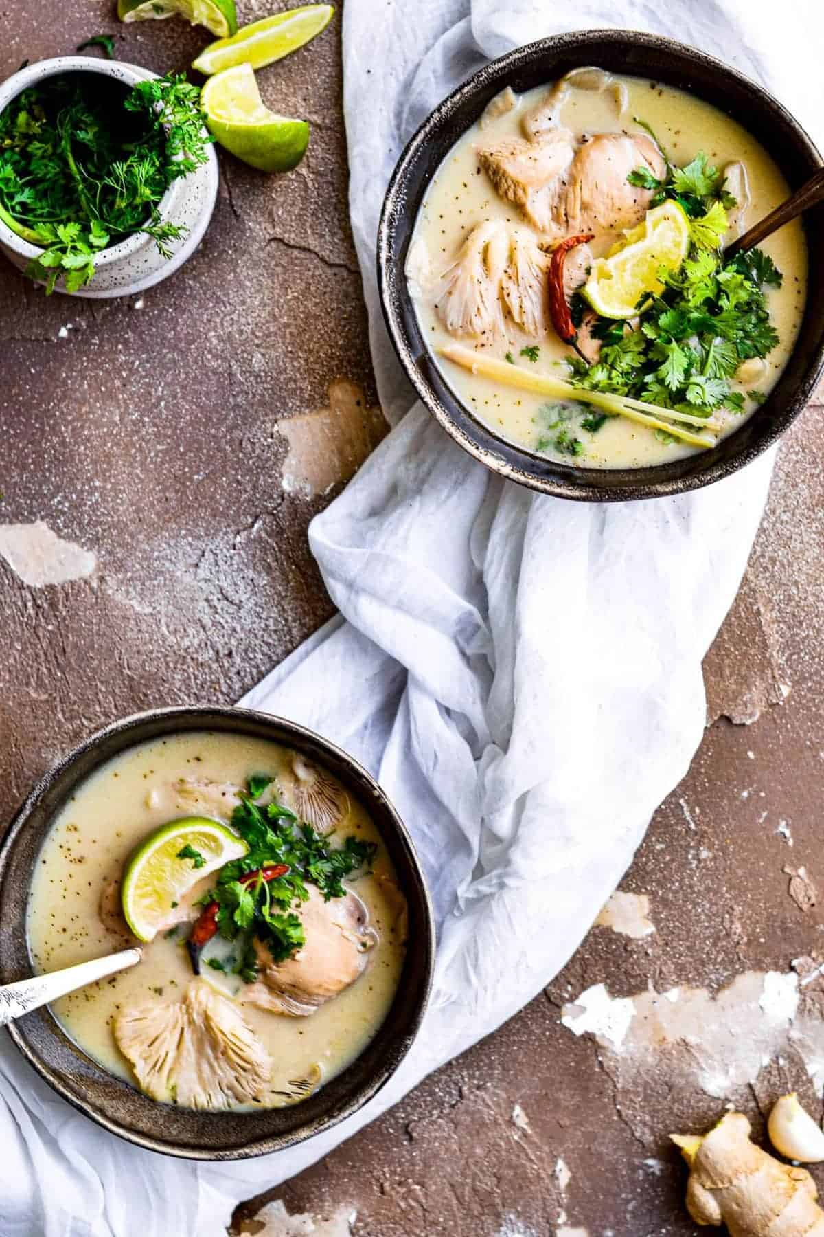 Two bowls of Chicken Coconut Soup