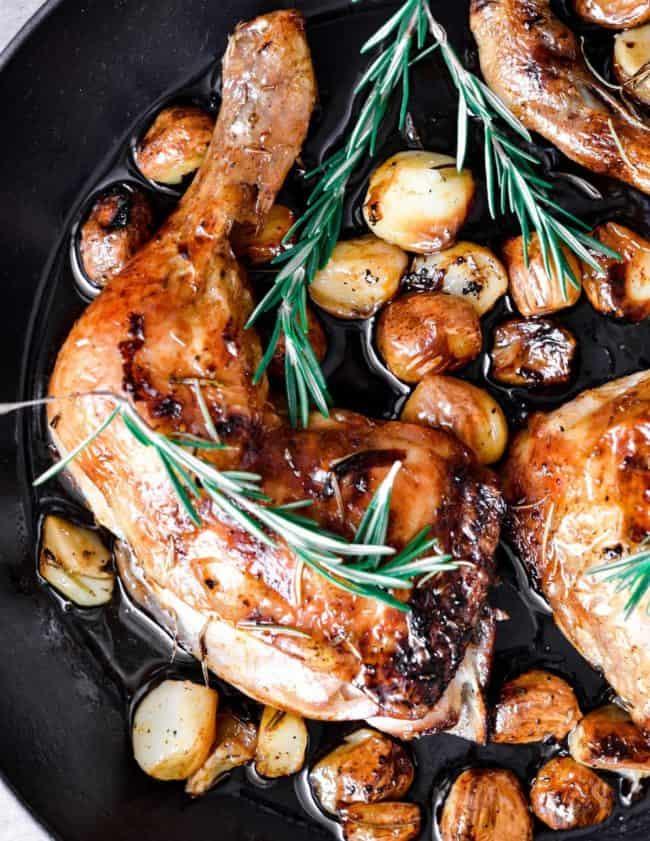 chicken with 40 cloves garlic in skillet
