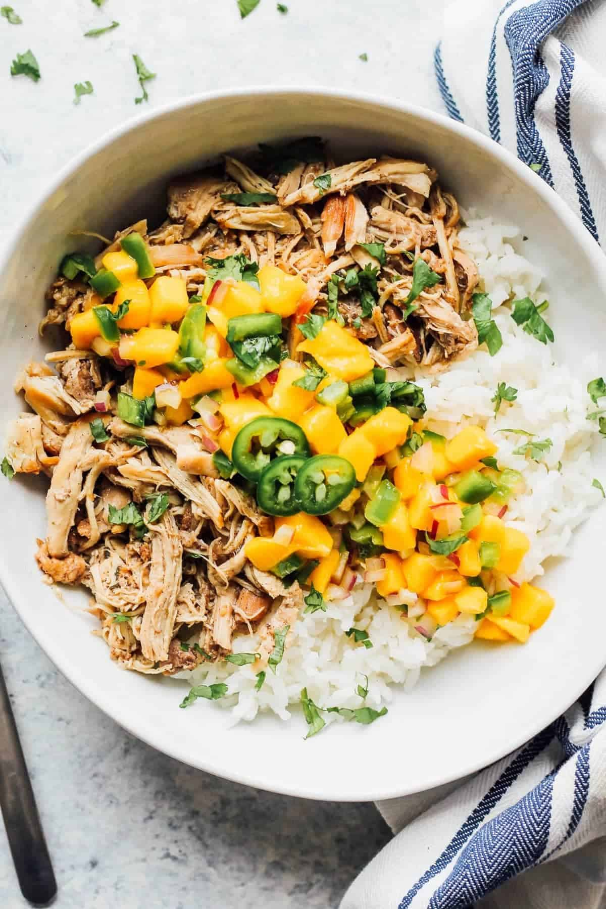 A bowl of instant pot jerk chicken with rice