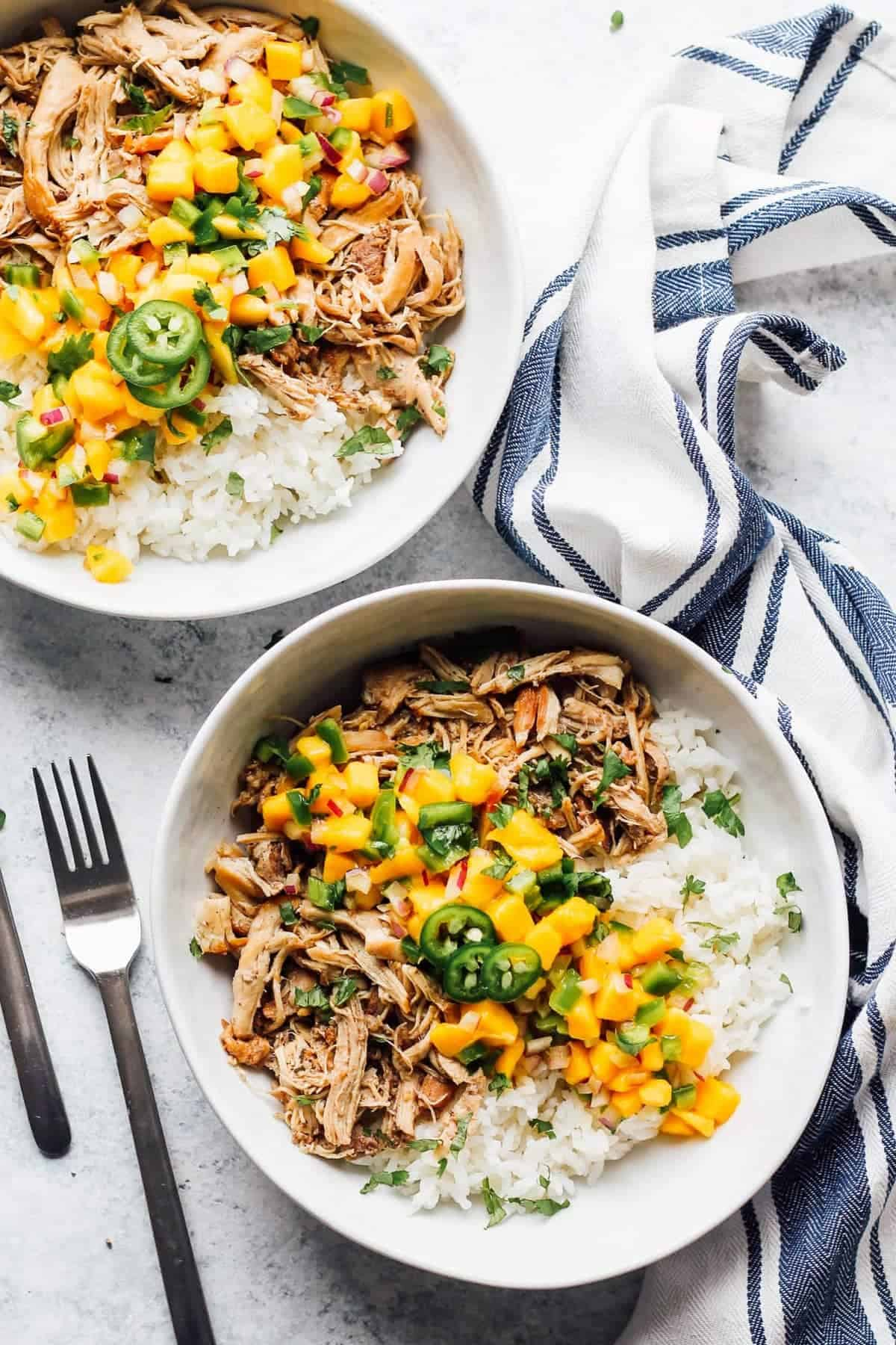 Two bowls of instant pot jerk chicken