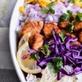 chopped chicken salad in dish