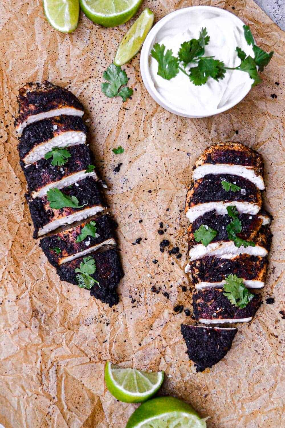 Blackened chicken served with sour cream dip