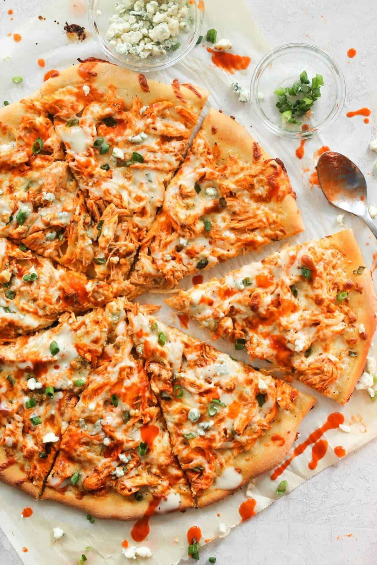 Close up of the Buffalo Chicken Pizza ready to serve