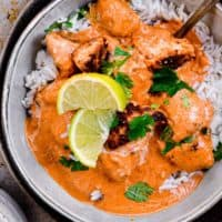 easy butter chicken over rice in bowl