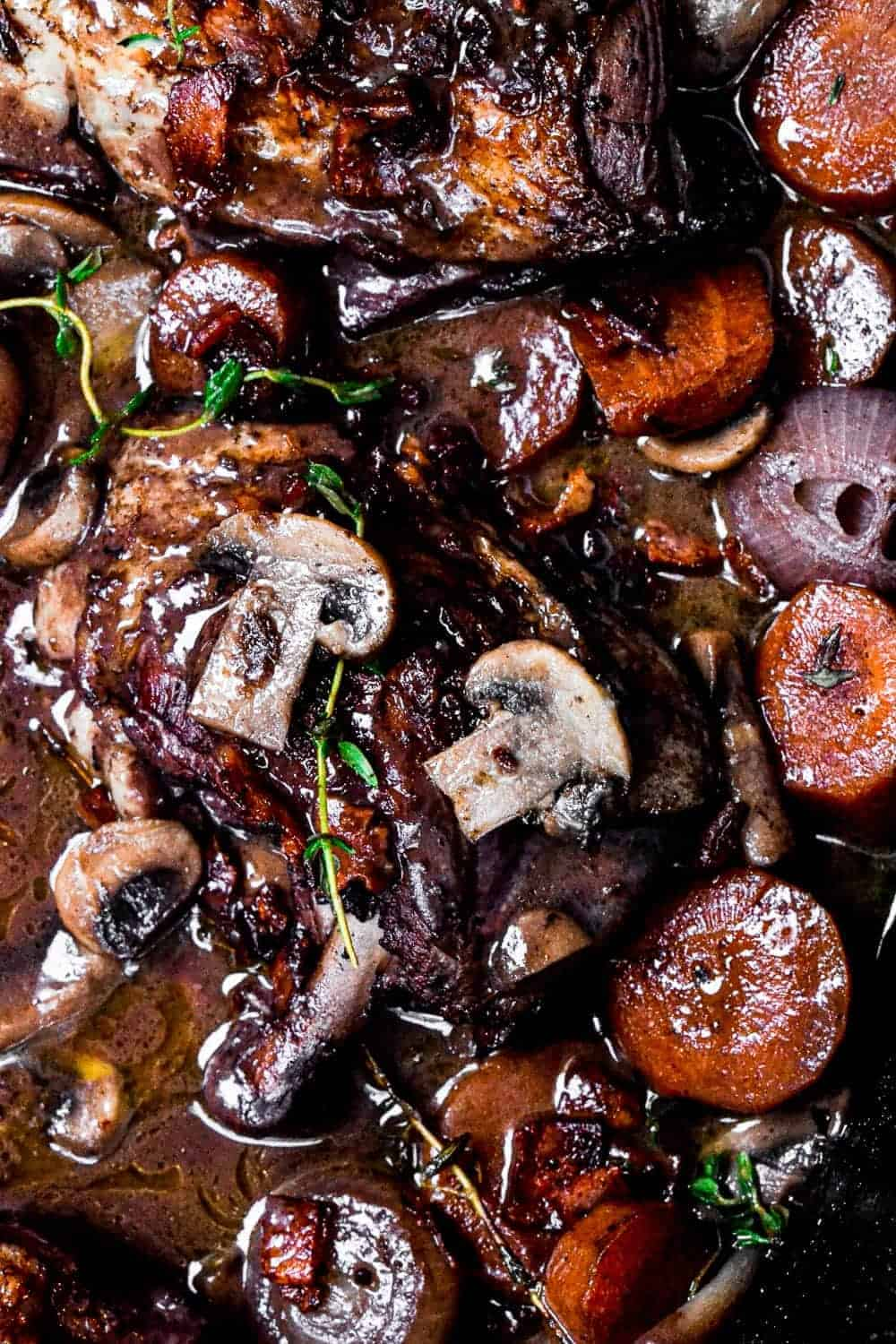 Close up of mushrooms on the cooked chicken