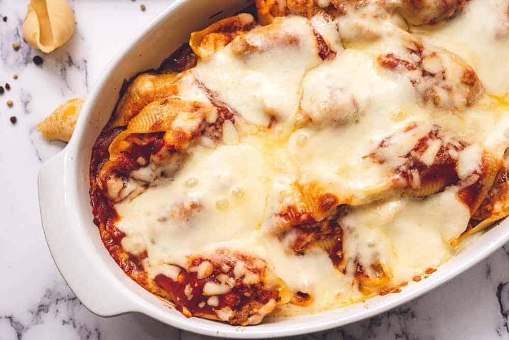 casserole dish of chicken parmesan stuffed shells