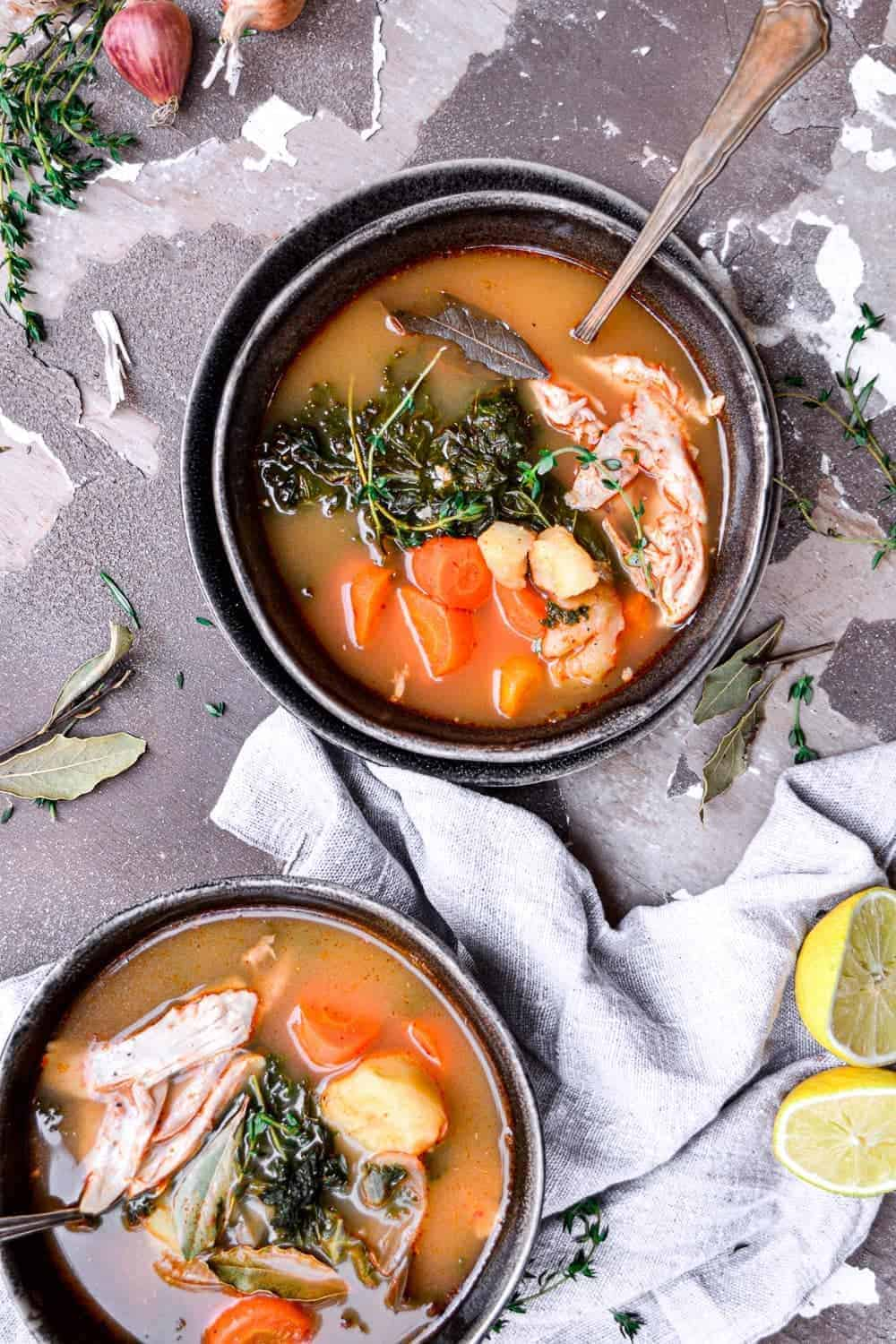 Two bowls of soup ready to eat