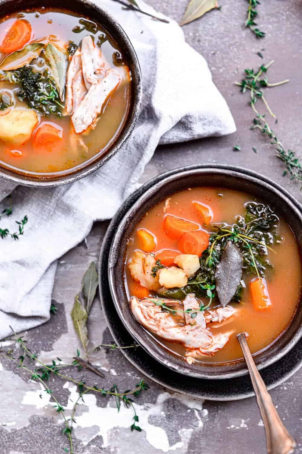healthy chicken soup in two bowls