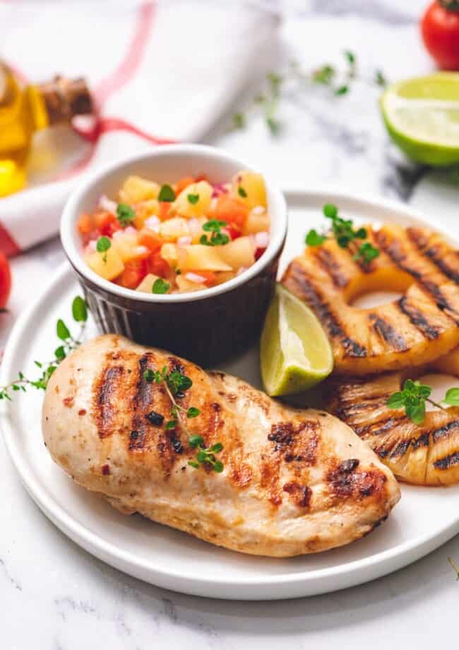 grilled pineapple chicken on plate