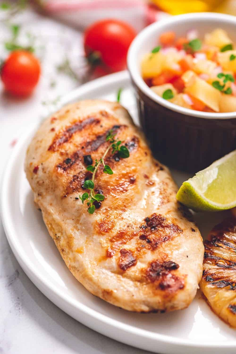 up close image of grilled chicken breast