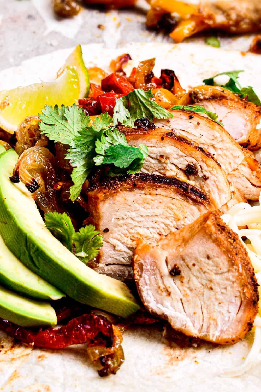 close up of best chicken fajita