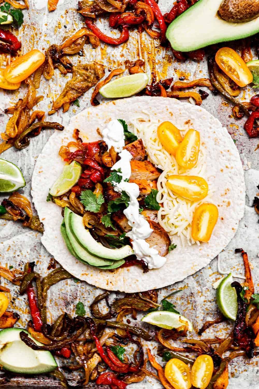 top down shot of best chicken fajitas on table