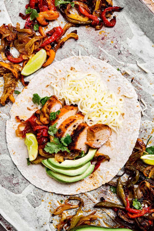 top down shot of best chicken fajitas