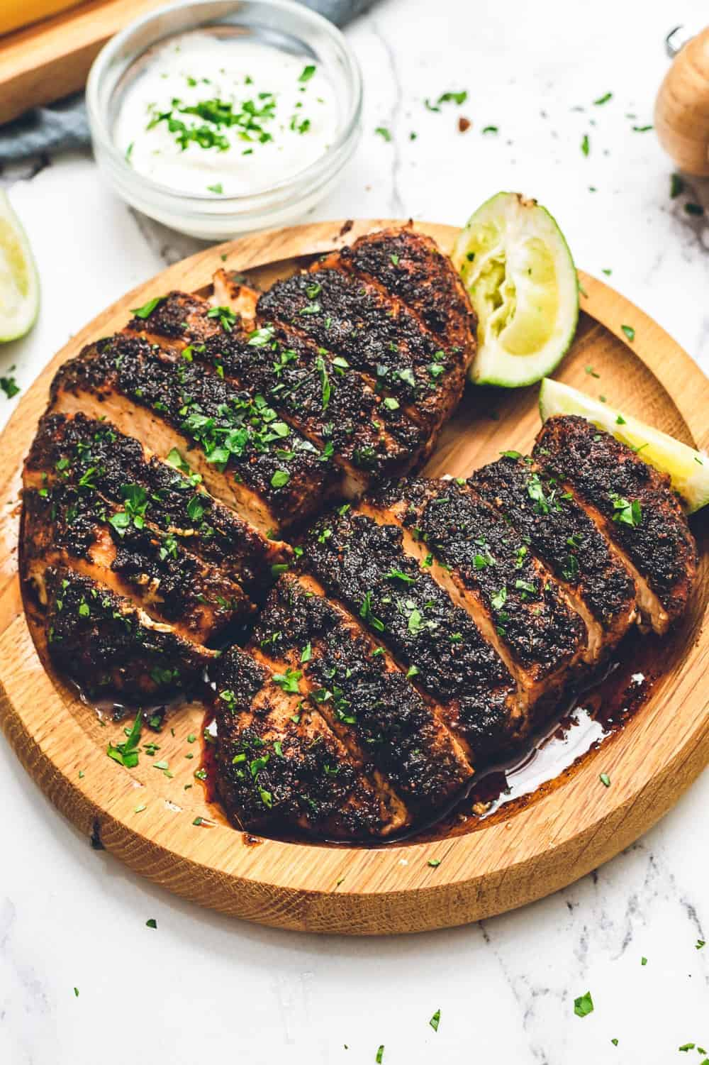 sliced blackened chicken breasts