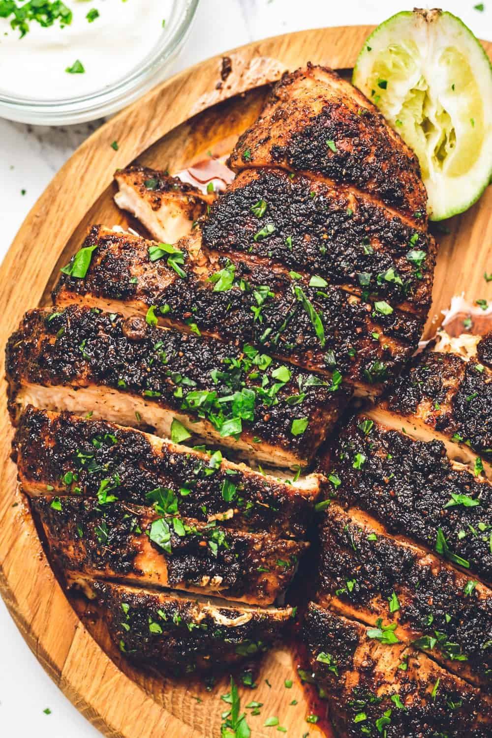 up close overhead image of sliced blackened chicken