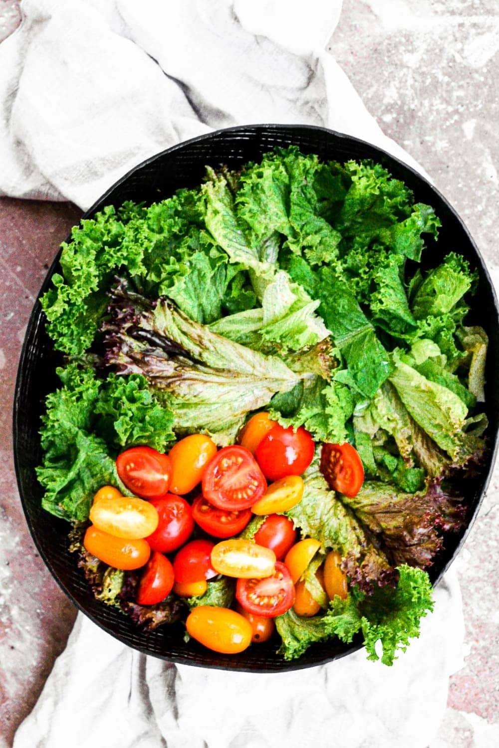 lettuce and tomatoes in bowl