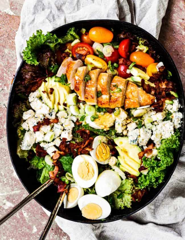 overhead image of chicken cobb salad in bowl