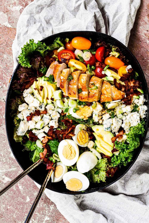 top down shot of chicken cobb salad