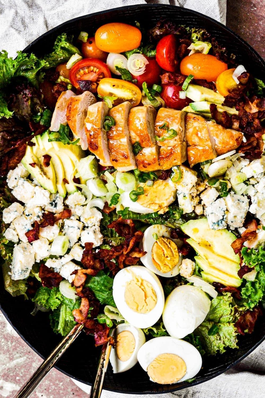 overhead shot of chicken cobb salad